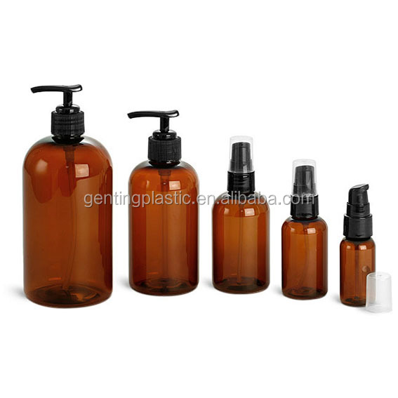 Plastic Bottles, Amber PET Boston Rounds with Black Lotion Pumps or Treatment Pumps(1.2.4.8.16)
