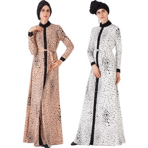 2019 new design muslim dress islamic abaya with shirt cuffs and star pattern front button open