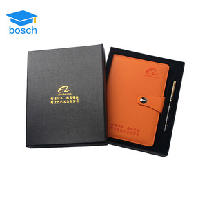 2019 promotional business metal pen with pu leather notebook gift pen set