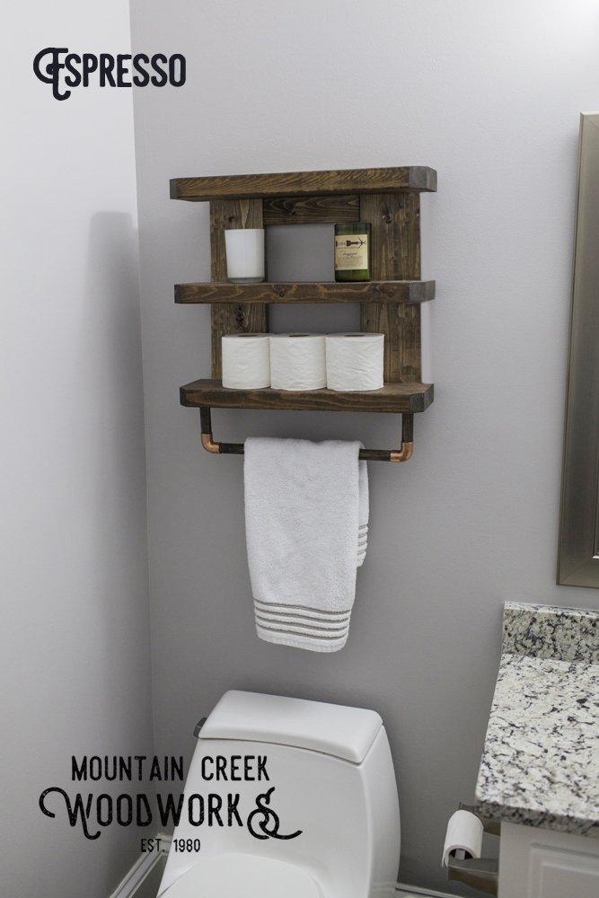 Rustic Wooden Bathroom Shelf & Towel Rack / Rod by Mountain Creek Woodworks (Classic Gray)