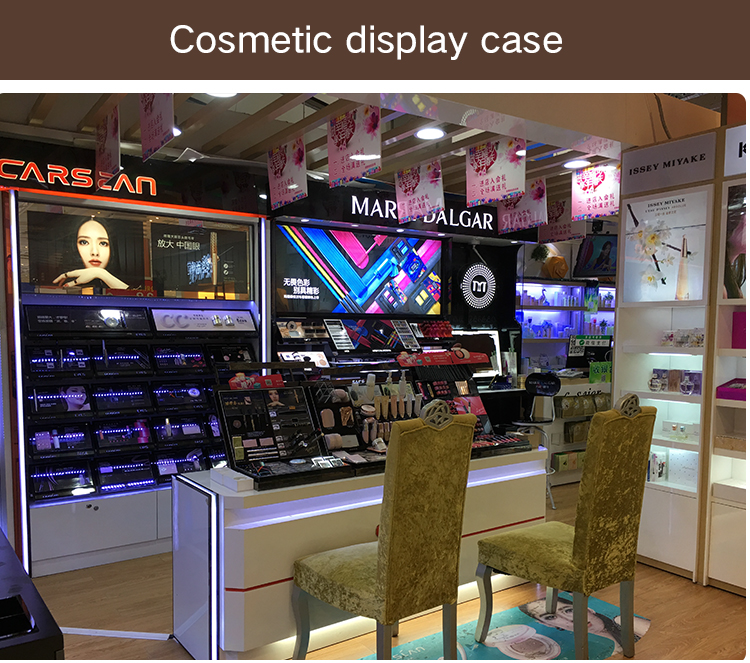 Custom Fashion Design retail cosmetic furniture showcase makeup display stand