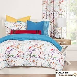 Crayola Crayon Paint Splash 2-piece Comforter Set Twin Kids & Teens, Abstract Graphic Paint Splat Pattern Reversible Bedding, Green Orange Purple Red White, Colorful and Fun!