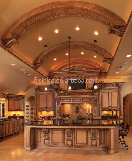 Luxe classique en bois massif armoires de cuisine avec for Cuisines americaines de luxe