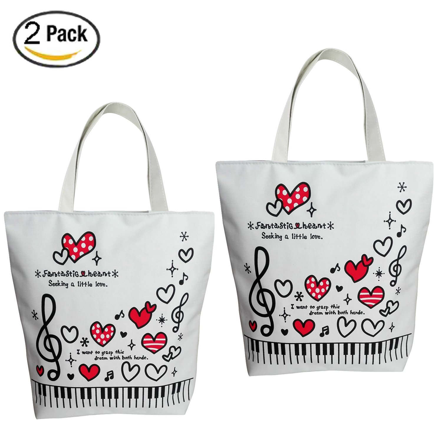 Sound Harbor Music Symbols Print Canvas Tote Music Element Handbag Shoulder Shopping Bags, Music Book Bag and Gift of music lovers (2Pack Red Love)