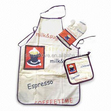 Coffee Time Tc Fabric Printed Kitchen Cooking Apron Set
