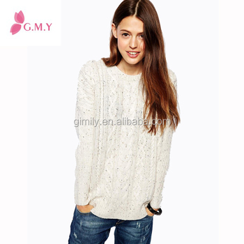 Woman Sweater Knitting Pattern For Lady Eyelet Lacecable Sweater