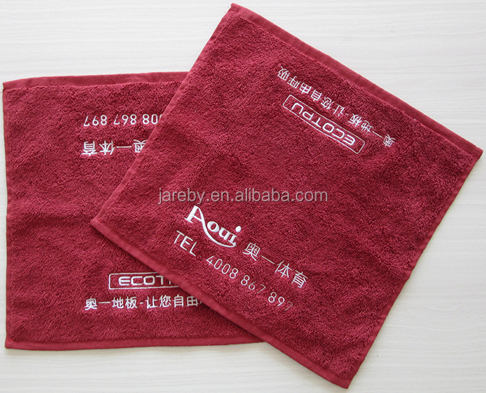 Customised logo cotton 30*30 red hand towel wholesale
