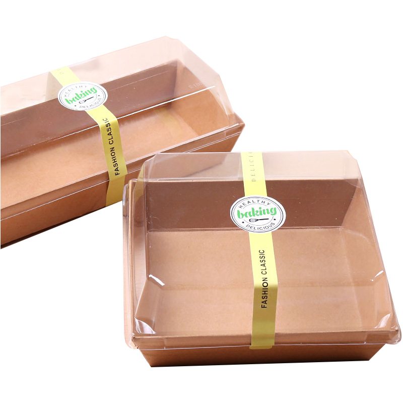 Accept custom Sandwich Hamburger Bread Hot dog Box Kraft Paper food packaging disposable paper tray with clear plastic lid