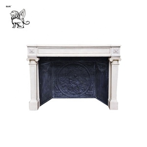 custom room decorative natural stone marble electric fireplace mantel FPL-042