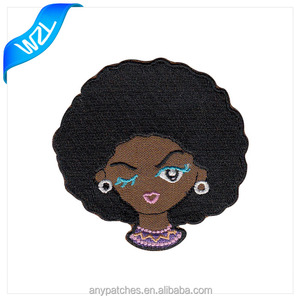 Woman head embroidery patches for garment