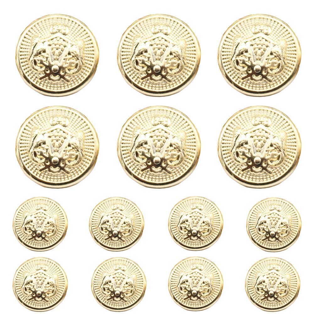YaHoGa 14pcs Gold Blazer Buttons for Men's Suits Blazers Sport Coats 23mm 18mm Lion Metal Shank Blazer Buttons Set for Sewing Coats Suits Blazers (MB20060)
