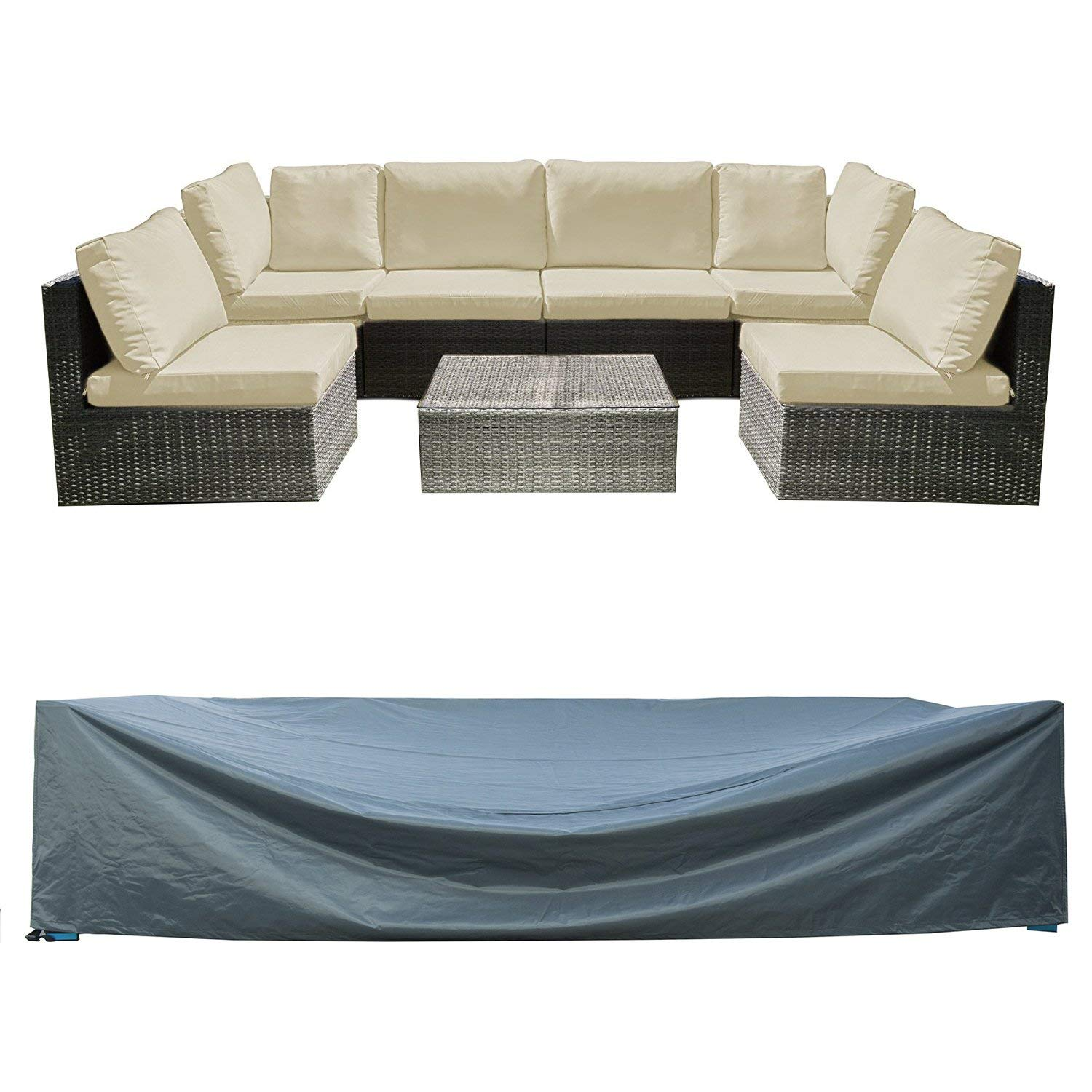 "Patio Sectional Sofa Set Cover Outdoor Furniture Covers Water Resistant Outdoor Table and Chair Covers Durable Heavy Duty 126"" L x 64"" W x 29"" H"
