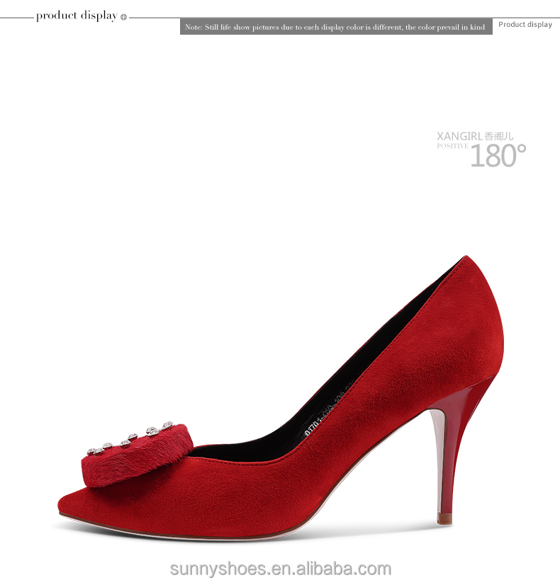 stiletto heel Luxury toe pointed suede shoe red leather bridal rw1XYr
