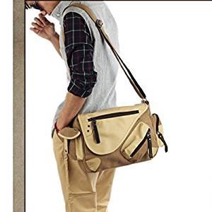 Vintage Canvas Messenger Bag Case Casual Bags Shoulder Laptop Bag School bags Attache case leather briefcasefor Men Young People Student - Size S - Khaki