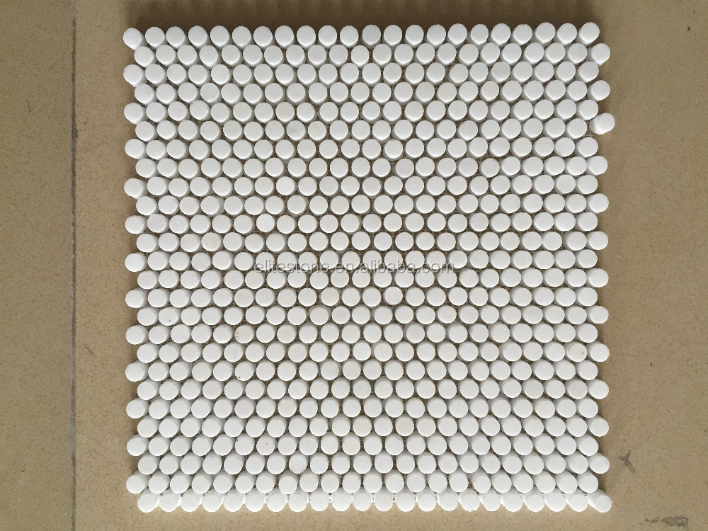 Thassos White Greek Marble Penny Round Mosaic Tile 3/4 inch Honed