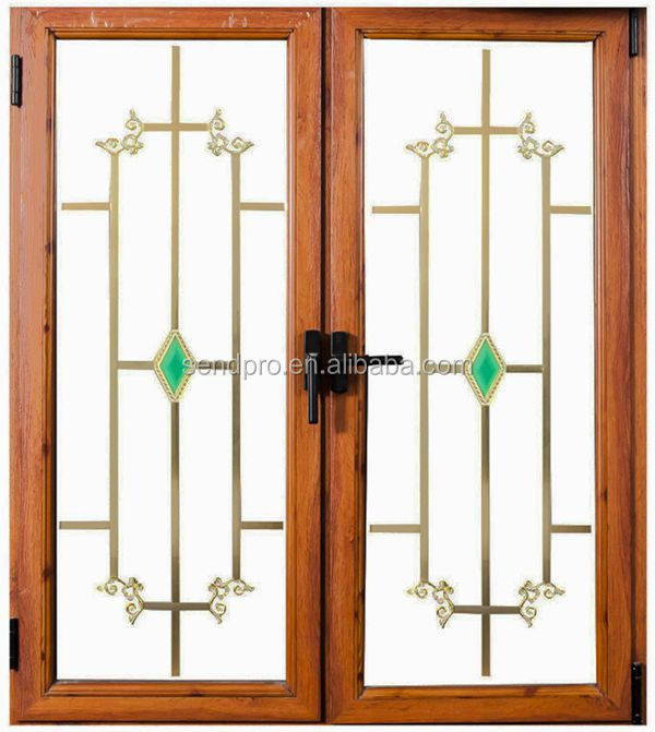 Double glass wood grain aluminum window grill design buy for Wooden window design with glass