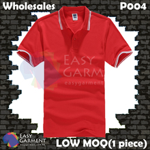 Wholesales P004 195G CVC Pique 65% cotton 35% polyester LOW MOQ Red Polo Shirt