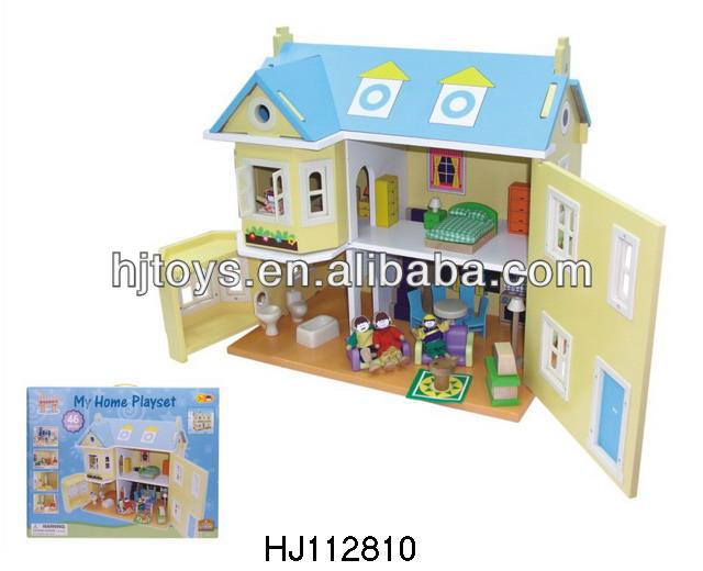 DIY bricks educational building block wooden toy block Villa HJ112810
