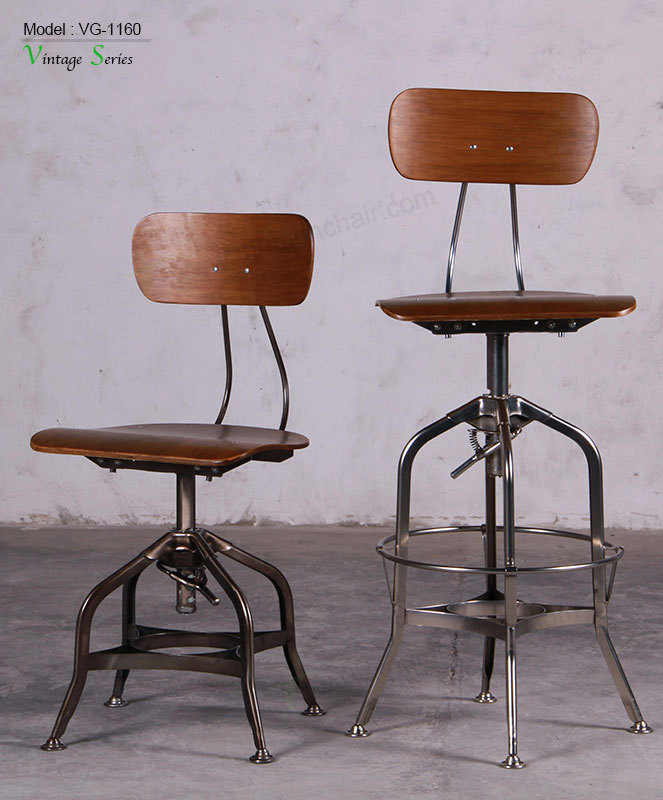 Triumph metal frame adjustable plywood seating rustic bar stools Toledo bar stools vintage metal