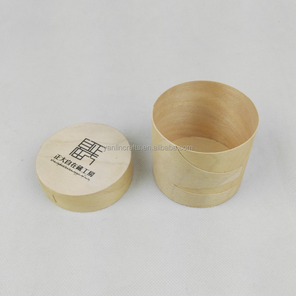 Cheap veneer wooden round packaging gift box