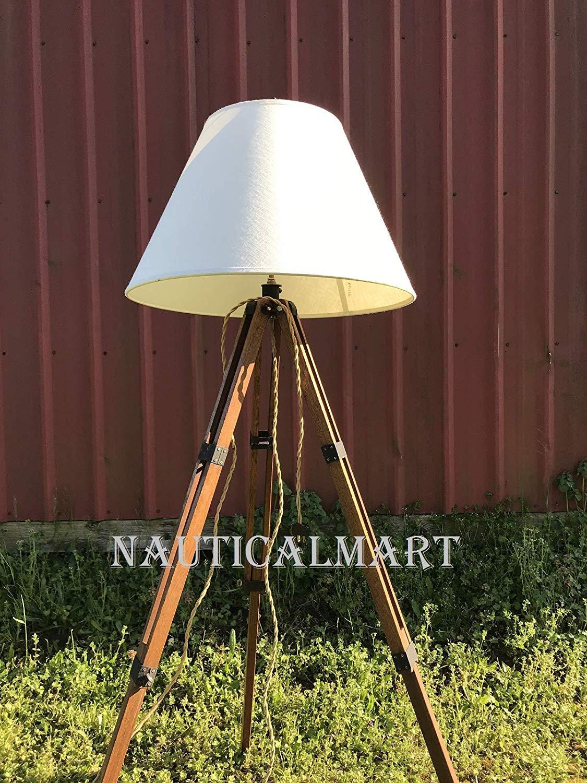 Vintage Tripod Lamp Wood Tripod Floor Lamp Rustic Floor Lamp Tripod Adjustable Floor Lamp