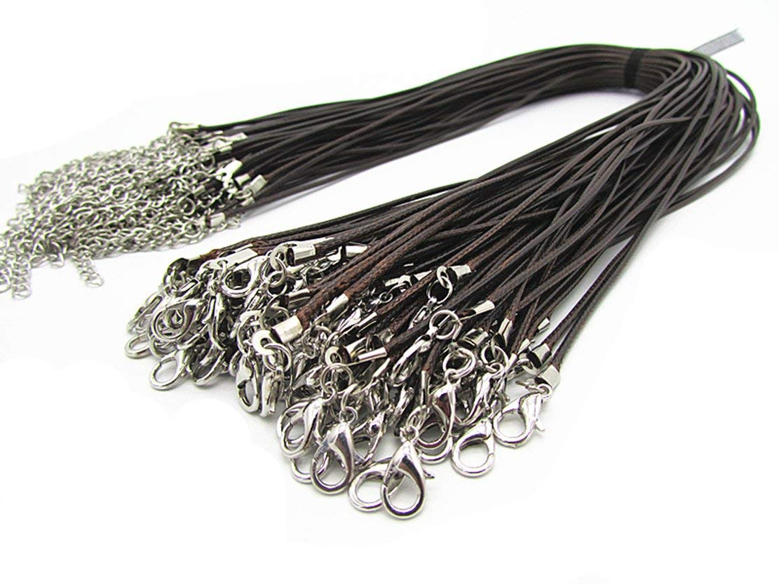 03288b8aa Get Quotations · Wonderful 50 Pieces Coffee Braided Leather Cord Rope  Necklace Chain with Lobster Claw Clasp 1.5mm