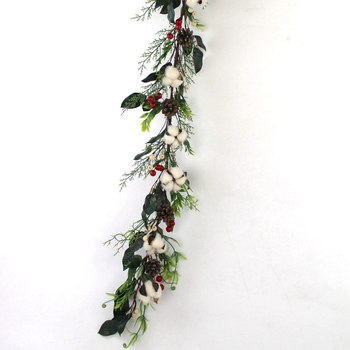 Balcony Decoration Garland Wreath Artificial Christmas Garland Rattan With Berry And Mixed Leaves Cotton Balls Pine Cone 79047 Buy Artificial