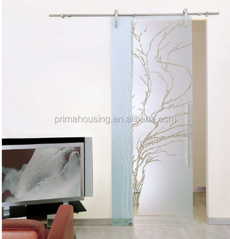 Modern Style Frosted Glass Sliding Barn Door Slab With Barn Door Hardware