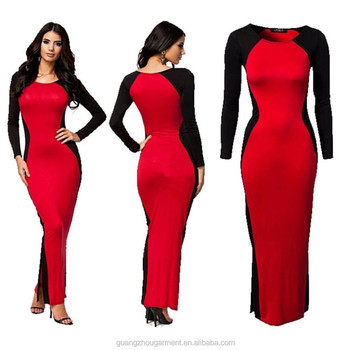 Red Black Long Sleeve Maxi Sexy Formal Cocktail Party Bodycon Gown