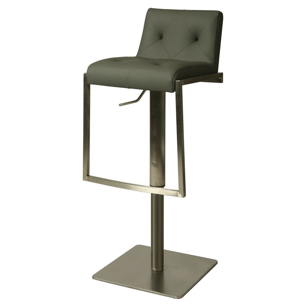 """Adijon Vinyl Tufted Back Hydraulic Stool Dimensions: 16.75""""W x 18.25""""D x 30.75-40.5""""H Seat Dimensions: 14""""Wx13""""Dx23.5-33.25""""H Gray Poly/Stainless Steel Frame"""