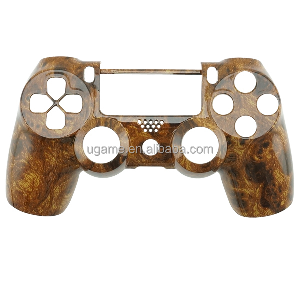 Deep Wood Grain Shell for PS4 Game Controller With Button Mod Kit