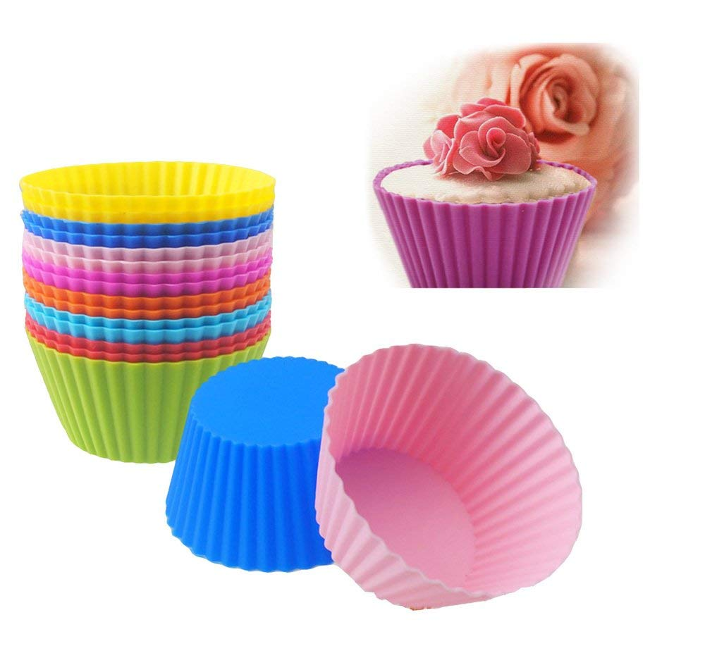 Misula 24 Pack Reusable & Nonstick Baking Cups 2.8 inch Silicone Cupcake Liners - - Muffin Molds - Cupcake Holders Gift set - 8 colors Pink Purple Red Blue Sky Blue Green Yellow Orange Muffin Cups