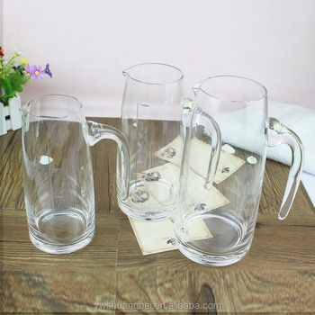 Transparent Clear Glass Water Milk Jug Small Glass Pitcher Glassware Water  Jar With Handle