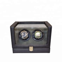 Pangaea Double Dual Motor Automatic Watch Winder Box for 2 Watches Black Leather