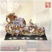 Elephant Family Art Statue Resin Craftwork