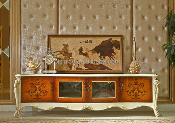 European Fashionable Tv Stand Beautiful Design Wooden Cabinet Palace Living Room