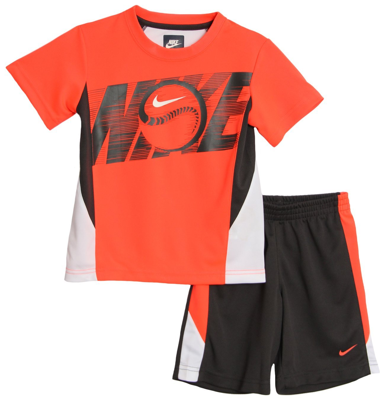 75bd99fae Nike Little Boys' 2 Piece Neon Orange Athletic T-shirt Basketball Shorts Set