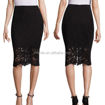2e74625314 China Supplier Charmming Woman Sexy black floral Formal lace pencil skirt  for office wear