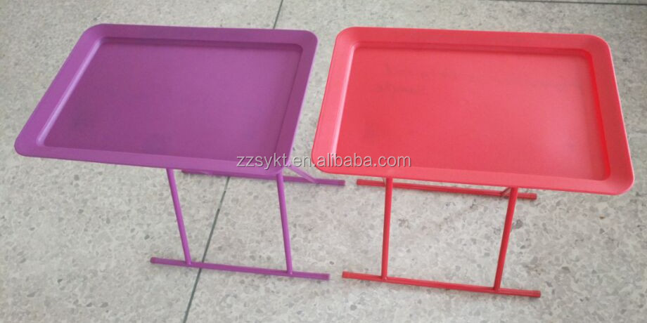 Customized Plastic Folding Snack Tray TV Tray Table With Metal Legs