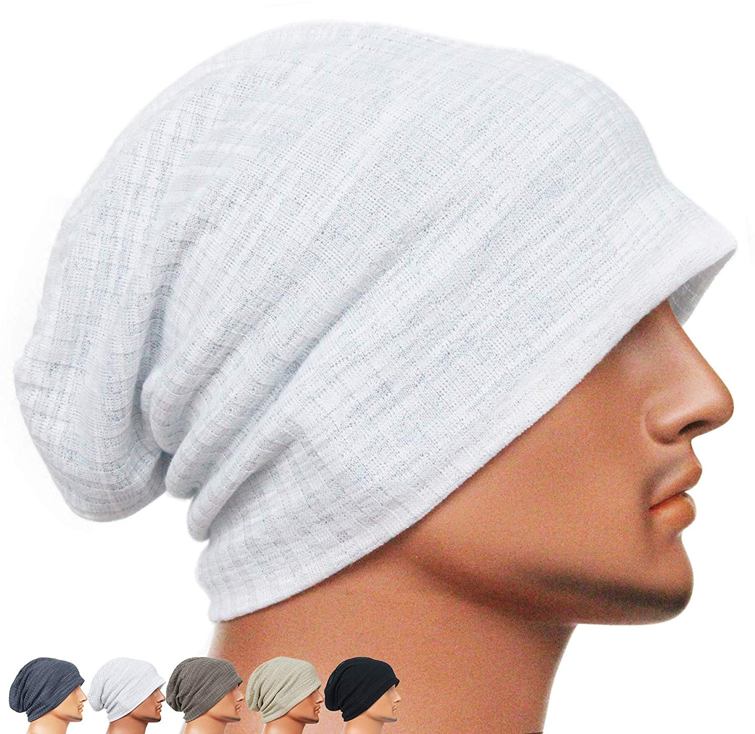 13603d0b4db Get Quotations · Rayna Fashion Men Women Summer Thin Slouchy Long Beanie Hat  Cool Baggy Skull Cap Stretchy Knit
