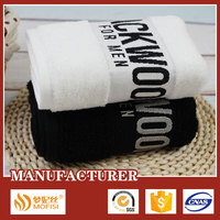 Dobby hand towels customised, white/ black towels with logo