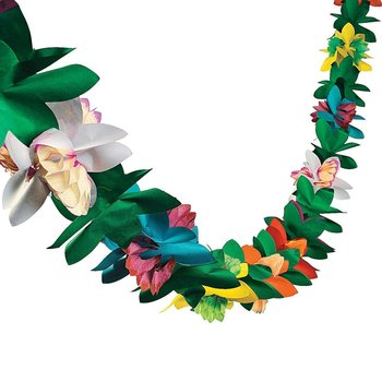 Tropical Paper Tissue Garland Flower Banner for Luau Hawaiian Party Supplies Beach Party Decorations
