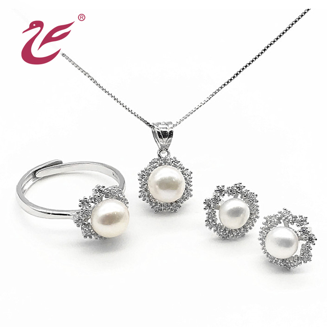 China pendant settings for pearl wholesale alibaba cheap silver freshwater pearl jewelry mounting sets for women wedding pendant earring set aloadofball Image collections