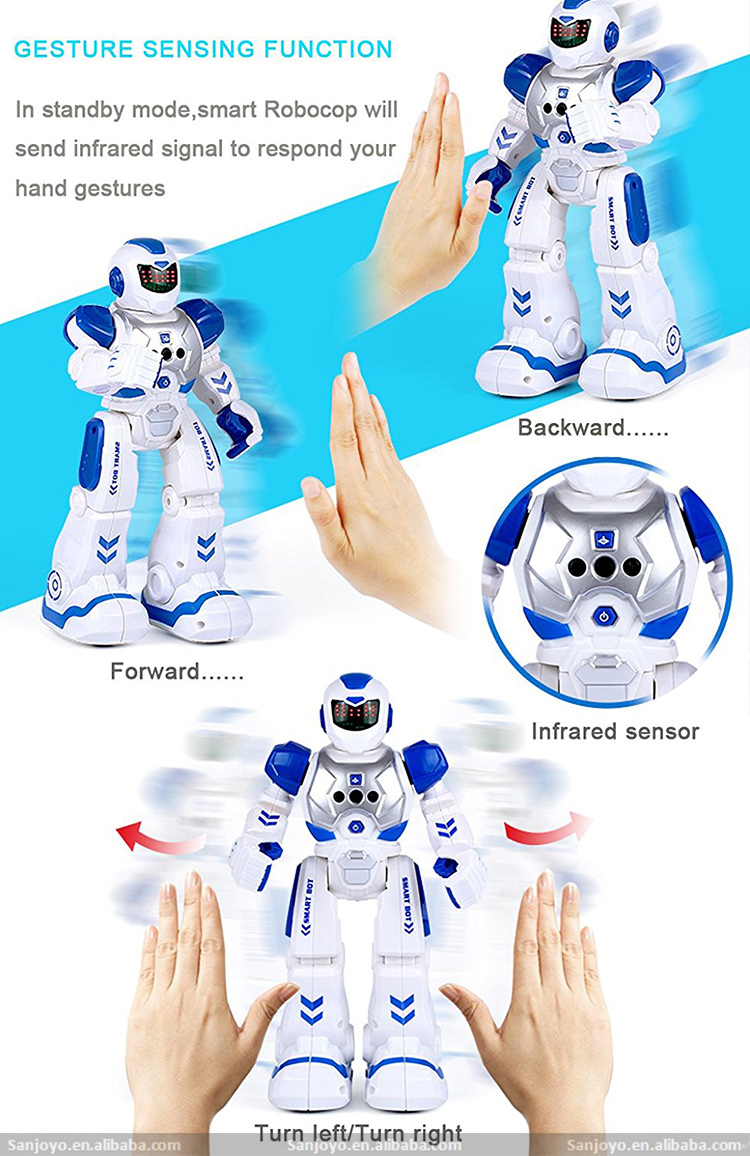 PK JJRC R2 Cady Robot Intelligent Electronic Gesture Control Walking Dancing Robot Toys With Music LED Light For Kids SJY-822