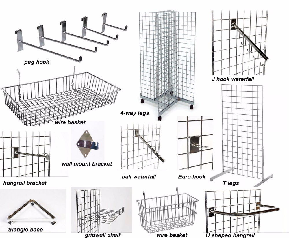 Store Fixture Chrome Welded Wire Mesh Grid Wall Display