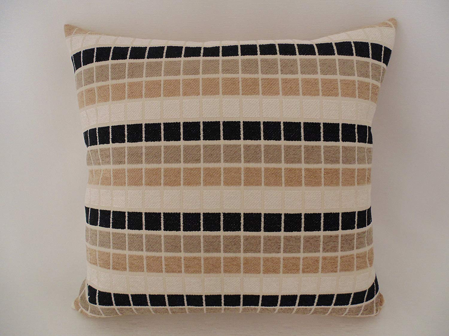 Chenille Black Beige Ivory Squares Decorative Throw Pillow Feathers Insert Included 16 X Handmade Cover