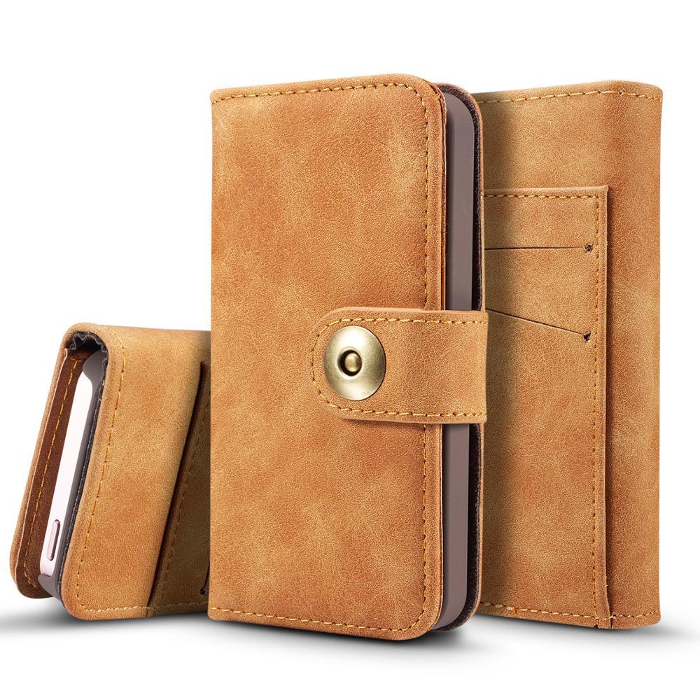 644e65f3466 Multi-función de cartera caso para iPhone 5 caso 3 Tarjeta de lujo de cuero