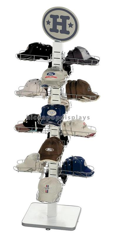 Creatieve Vloeren 4-Way Poedercoating Of Chroom Metalen Tube16 Stukken Baseball Cap Display Rack