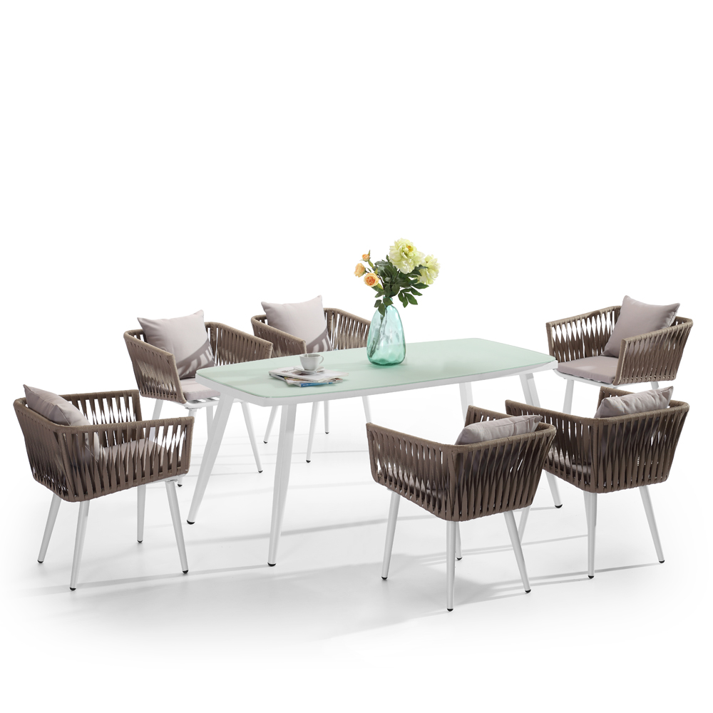 Aluminium String Chairs And Glass Table Jardin Import Garden Furniture  Outdoor