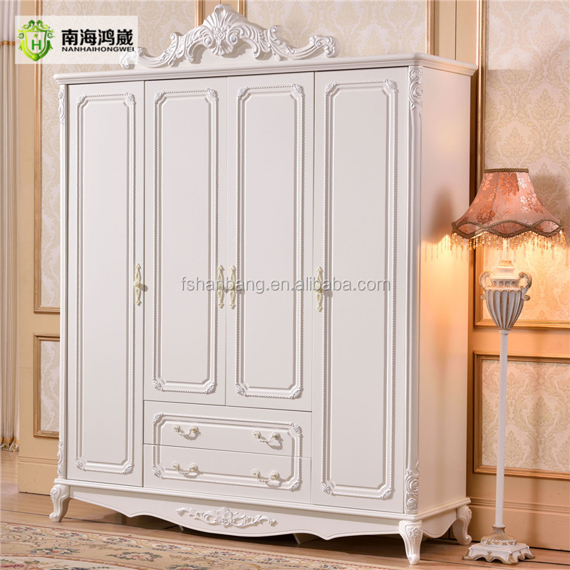 French Baroque Style Hand Carved Design 4 Door Ivory White